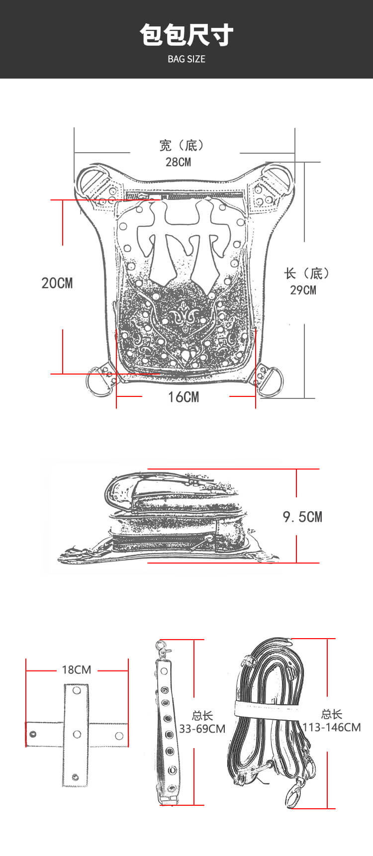 CMX GETFASIONBAGS Flap Waist Bags Unisex Cross Leather Thigh Packs detail 1