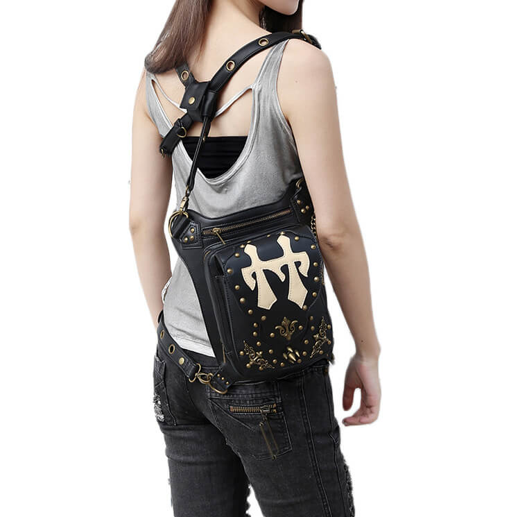 CMX GETFASIONBAGS Flap Waist Bags Unisex Cross Leather Thigh Packs detail 10