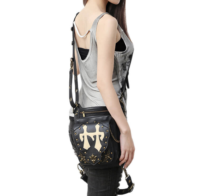 CMX GETFASIONBAGS Flap Waist Bags Unisex Cross Leather Thigh Packs detail 3