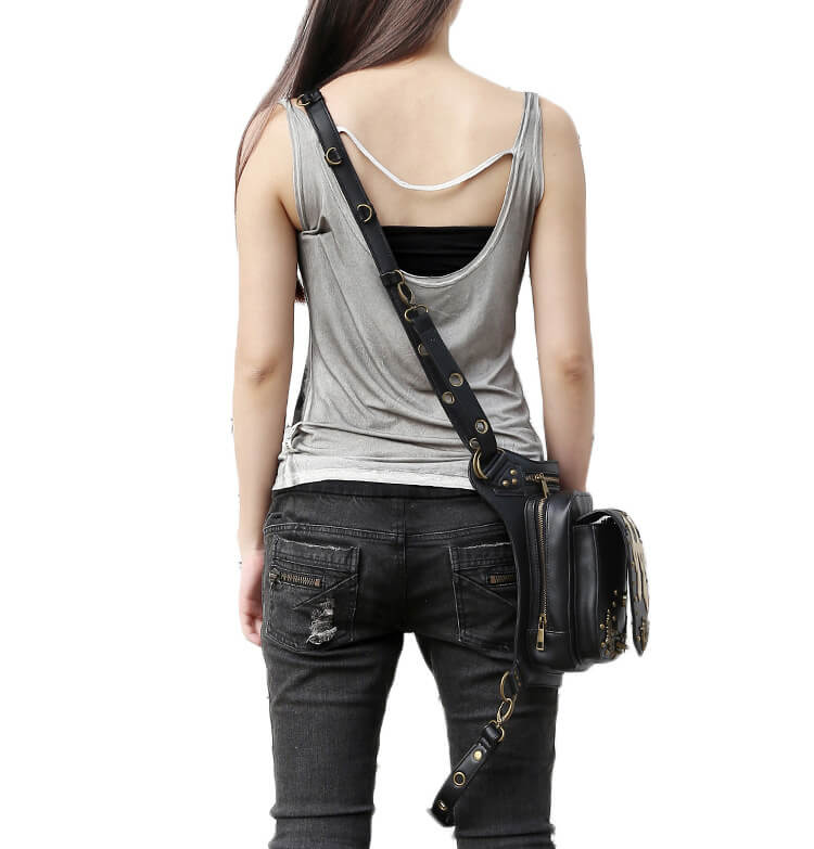 CMX GETFASIONBAGS Flap Waist Bags Unisex Cross Leather Thigh Packs detail 4