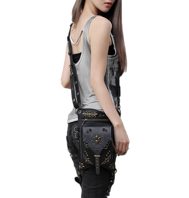 CMX GETFASIONBAGS-Gothic-Flap-Waist-Bags-Unisex-motorcycle-Leather-Thigh-Packs-Retro-detail 3