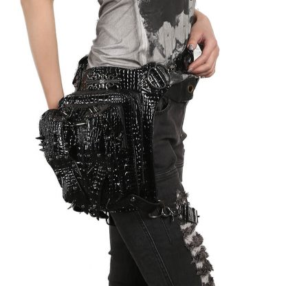 Steampunk Waist Bags Leather Hip Thigh Packs With Leg Holster