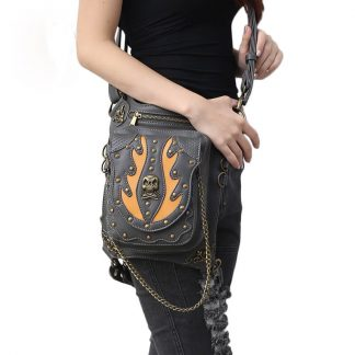 CMX GETFASIONBAGS-Gothic-Waist-Bags-Unisex-Skull-Leather-Cross-Body-Thigh-Packs-1