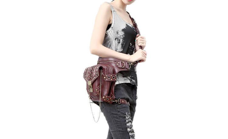 CMX GETFASIONBAGS-Steampunk-Style-Unisex-Waist-Bags-Brown-detail 1