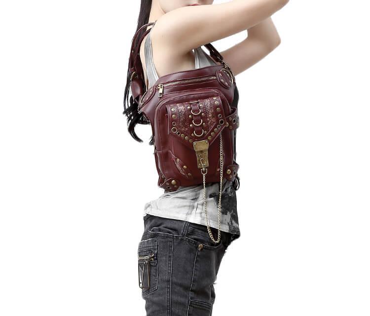 CMX GETFASIONBAGS-Steampunk-Style-Unisex-Waist-Bags-Brown-detail
