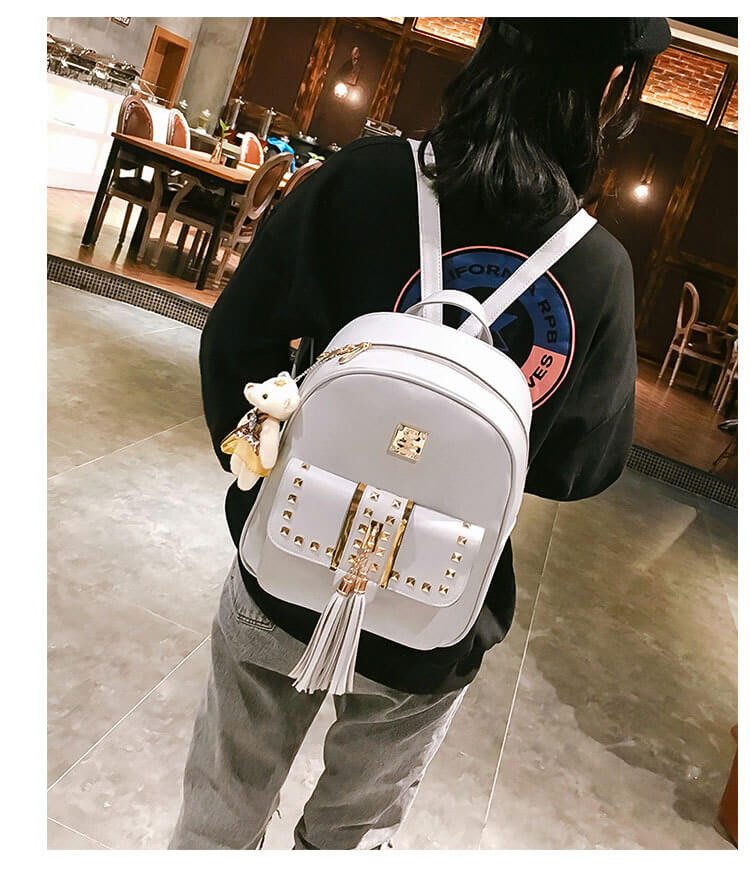 Cute punk rivet women backpack for school bags detail 2