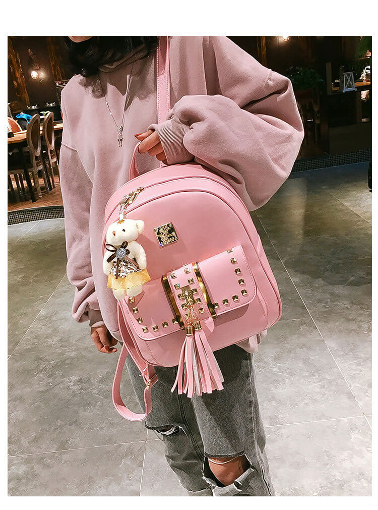 Cute punk rivet women backpack for school bags detail 4