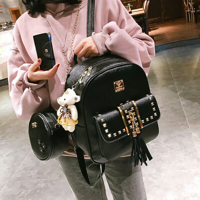 Cute punk rivet women backpack for school bags1