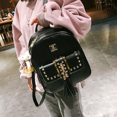 Cute punk rivet women backpack for school bags3