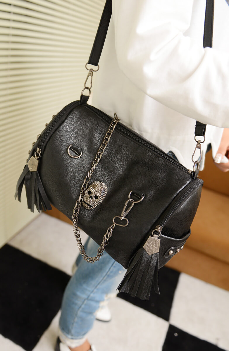 Punk rivets skull fashion shoulder bag female chain bag detil1