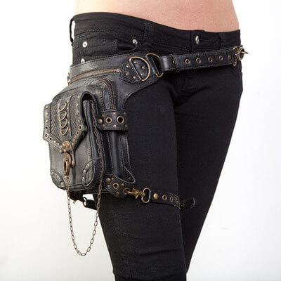 Steampunk Retro Motorcycle Club Shoulder Waist Bag Black 1
