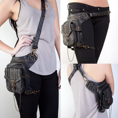 Steampunk Retro Motorcycle Club Shoulder Waist Bag Black 2