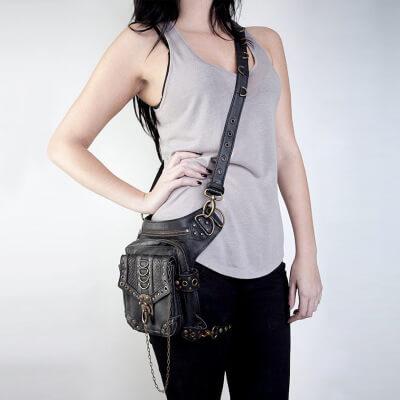 Steampunk Retro Motorcycle Club Shoulder Waist Bag Black 3