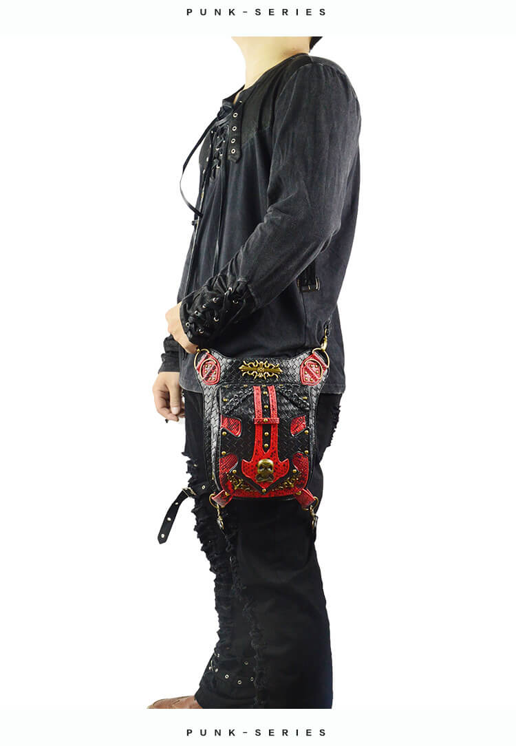 Steampunk Waist Black And Red Bags Unisex Leather Xmas Hip Thigh Packs detail 3