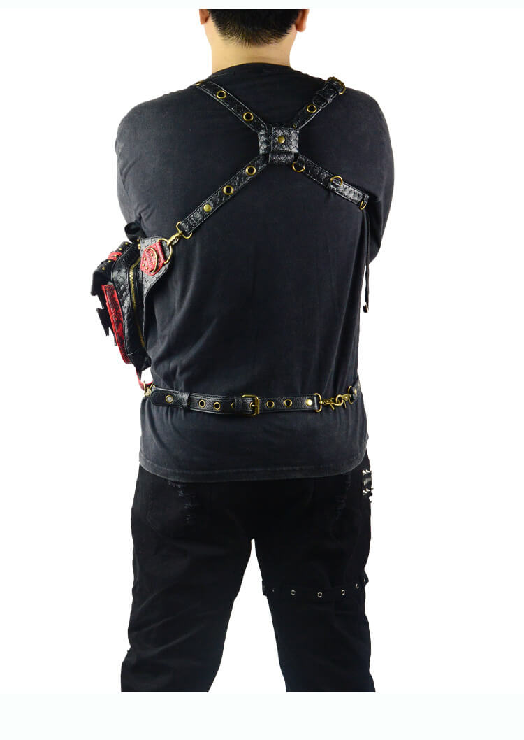 Steampunk Waist Black And Red Bags Unisex Leather Xmas Hip Thigh Packs detail 7
