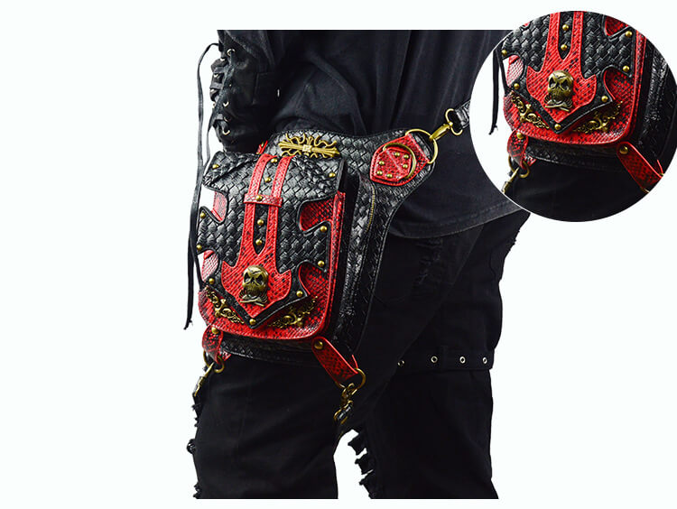 Steampunk Waist Black And Red Bags Unisex Leather Xmas Hip Thigh Packs detail