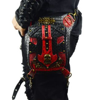 Steampunk Waist Black And Red Bags Unisex Leather Xmas Hip Thigh Packs main