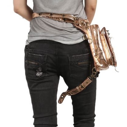 Steelsir Gothic Waist Bags Unisex Motorcycle Leather Thigh Packs Golden 2