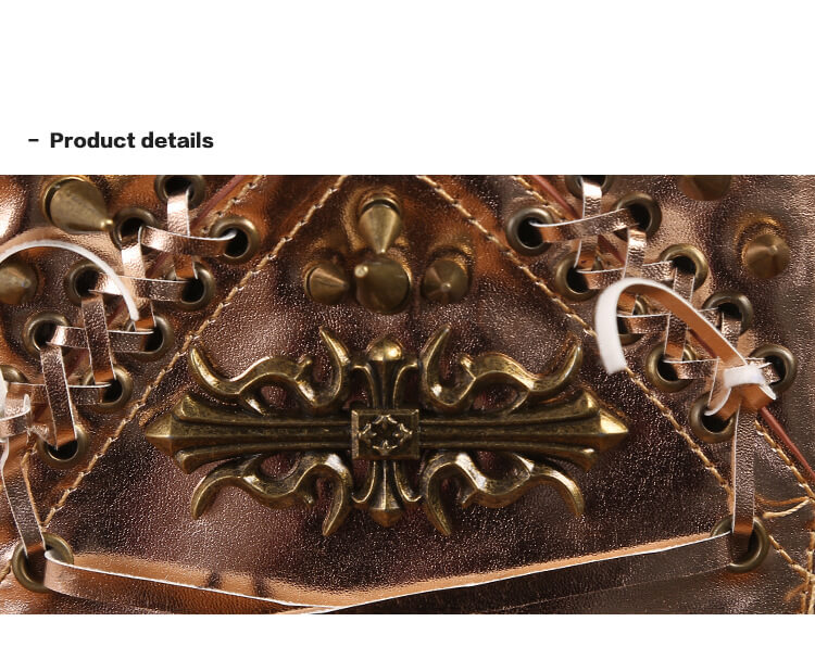 Steelsir Gothic Waist Bags Unisex Motorcycle Leather Thigh Packs Golden detail 12