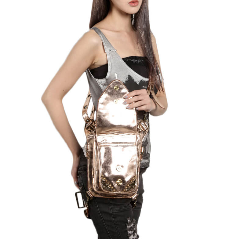 Steelsir Gothic Waist Bags Unisex Motorcycle Leather Thigh Packs Golden detail 5