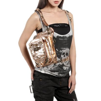 Steelsir Gothic Waist Bags Unisex Motorcycle Leather Thigh Packs Golden detail 9