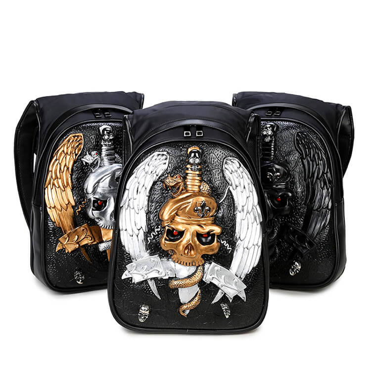3D skull knife leather backpack rivets skull backpack with Hood cap apparel bag 1