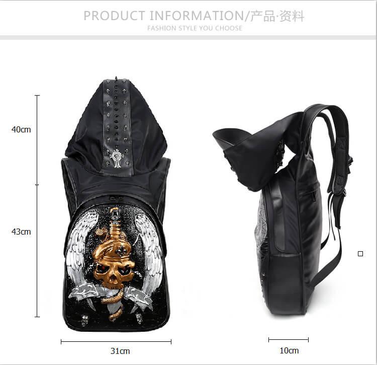 3D skull knife leather backpack rivets skull backpack with Hood cap apparel bag 2