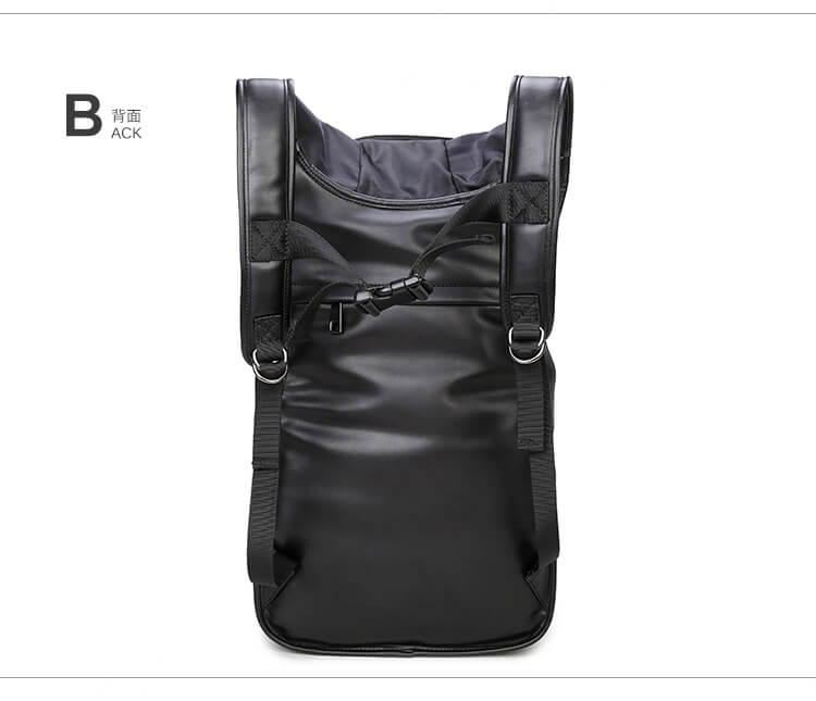 3D skull knife leather backpack rivets skull backpack with Hood cap apparel bag 3