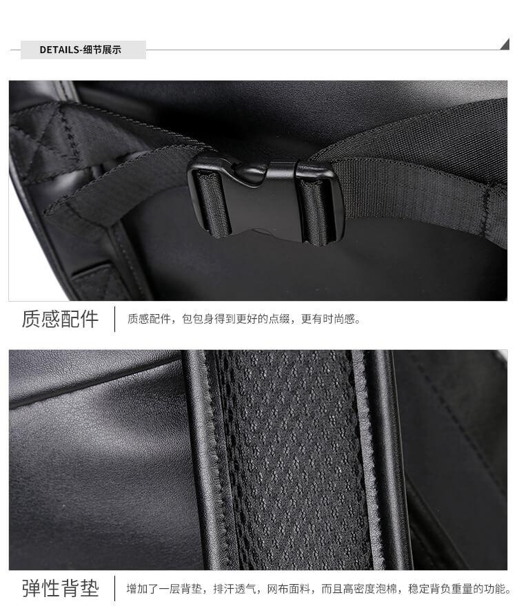 3D skull knife leather backpack rivets skull backpack with Hood cap apparel bag 4