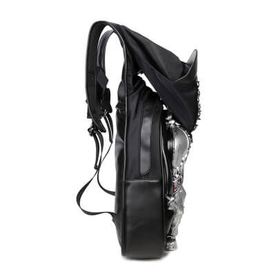3D skull knife leather backpack rivets skull backpack with Hood cap apparel bag cross bags hiphop man 4
