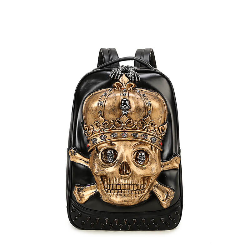 3d Pu Leather Punk Skull Crown Rivet Backpack Youth Fashion Message Bags be44b9074efad