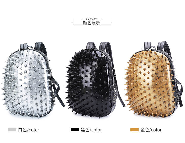 Punk 3D Animal Hedgehog Rivet Backpack Travel Backpack Computer Bag detail 1