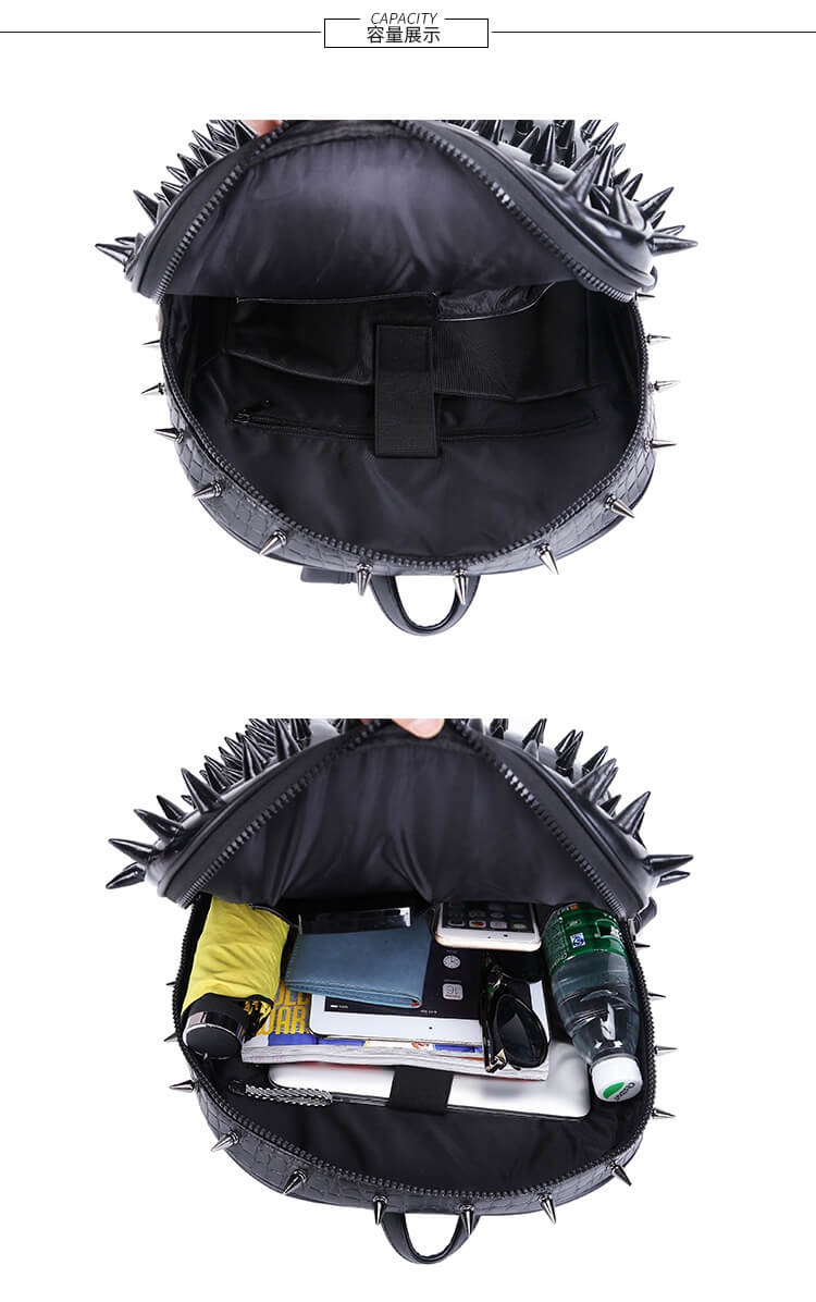 Punk 3D Animal Hedgehog Rivet Backpack Travel Backpack Computer Bag detail  7
