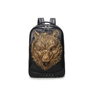 Punk Lone Wolf Pu Leather Rivet Backpack with Hood cap apparel Bag 1