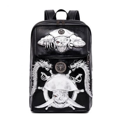Punk pu pirate captain skull pattern waterproof computer student backpack 1