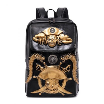 Punk pu pirate captain skull pattern waterproof computer student backpack 7