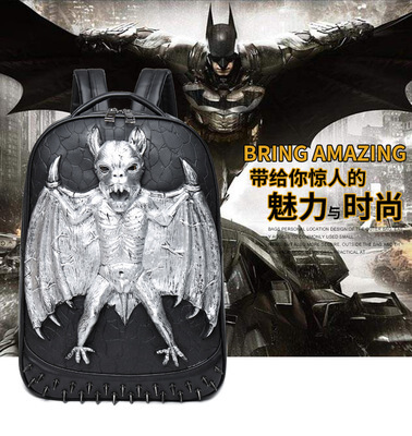 Punk vampire bat rivet waterproof computer school bagback 5
