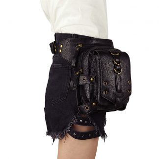 Steampunk balck pu leather waist bags thigh high pack