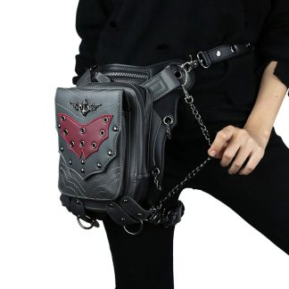 cmx getfashionbags Red Bat Waist Packs SteamPunk Leather Rivet Pack 1