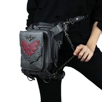 cmx getfashionbags Red Bat Waist Packs SteamPunk Leather Rivet Pack 1