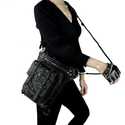 steampunk leather hip belt bag 3