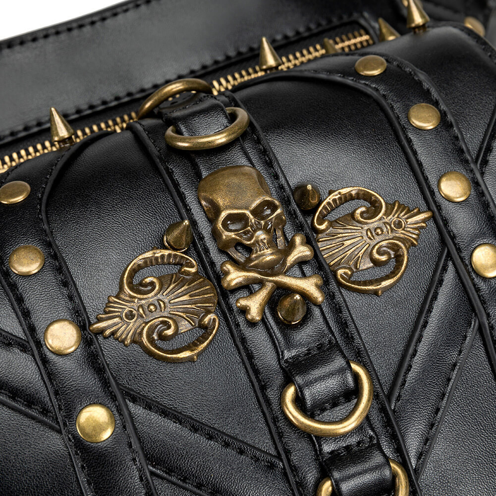 black punk leather waist bags uk 6