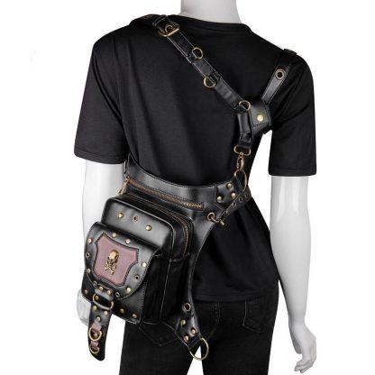 black steampunk punk cool cheap skull hip bag 3