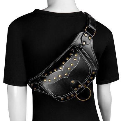 black steampunk waist bags mens 2
