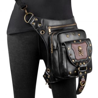 black steampunk wiast bags skull hip bag 1