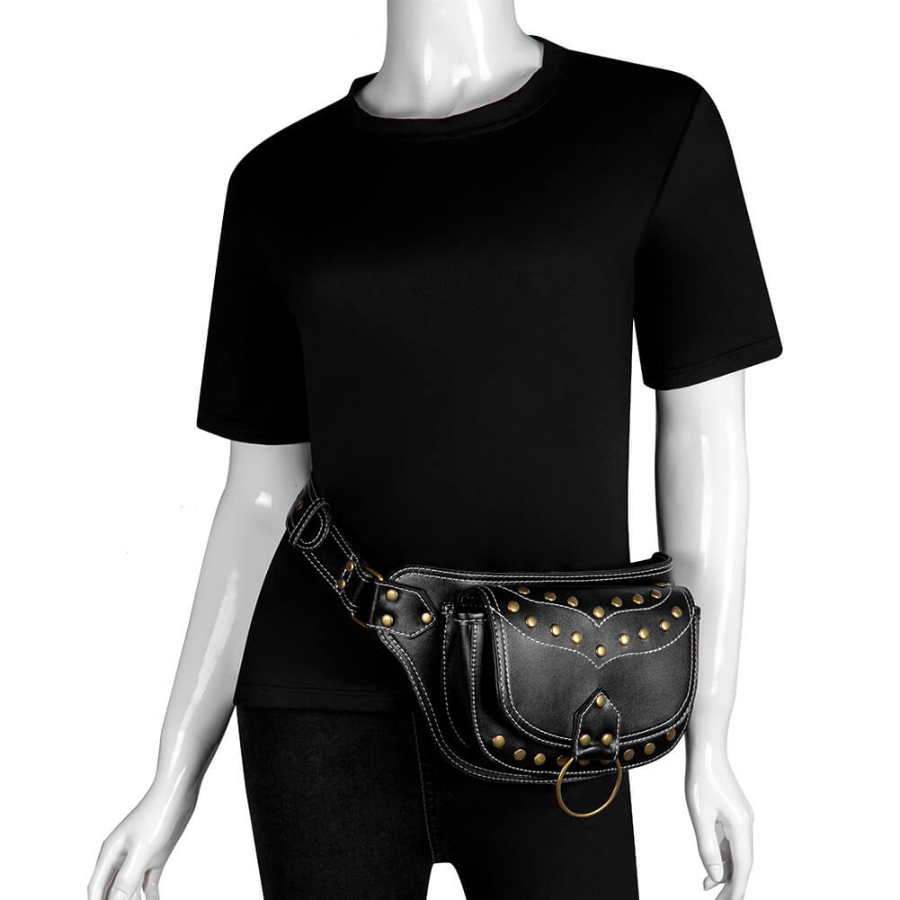 black steapunk waist bag diesel 4